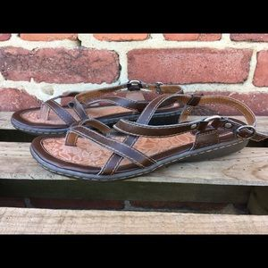 BORN Brown Leather Strap Sandals Size 8